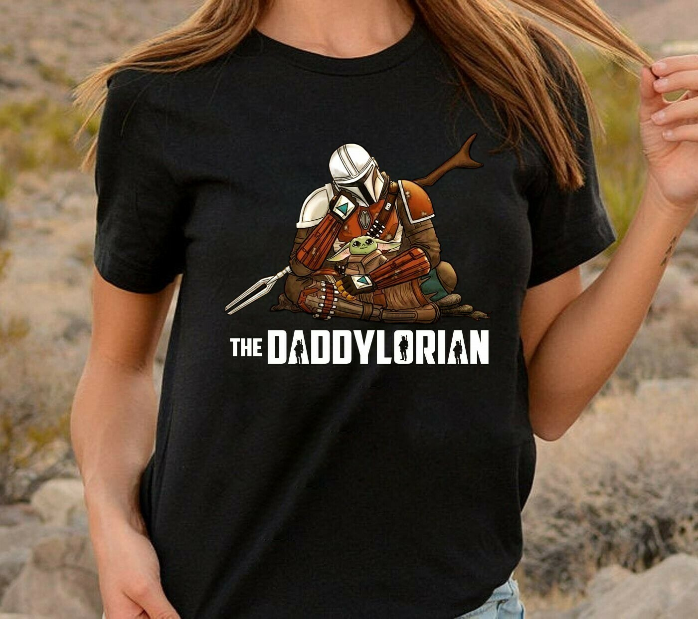 The Daddylorian Daddy Baby Yoda Mandalorian,Star Wars Inspired Darth Vader Galaxy's Best Dad T-Shirt Long Sleeve Sweatshirt Hoodie Jolly Family Gifts