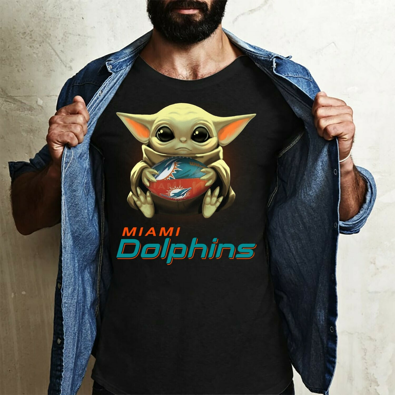 Miami Dolphins Baby Yoda Star Wars The Mandalorian The Child First Memories Floating NBA Football Dad Mon Kid Fan Gift T-Shirt Long Sleeve Sweatshirt Hoodie Jolly Family Gifts
