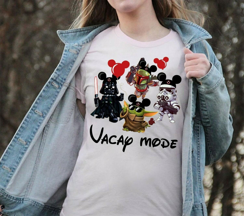 Vacay Mode Baby Yoda Disney The Mandalorian With Death Star Wars Movie Vacay Mode Lovely Mickey T-Shirt Long Sleeve Sweatshirt Hoodie Jolly Family Gifts