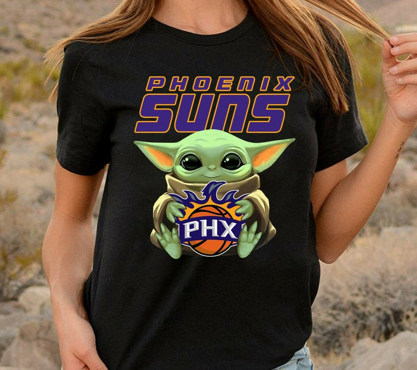 Phoenix Suns PHX Baby Yoda Star Wars The Mandalorian The Child First Memories Floating NBA Basketball Dad Mon Kid Fan Gift T-Shirt Long Sleeve Sweatshirt Hoodie Jolly Family Gifts