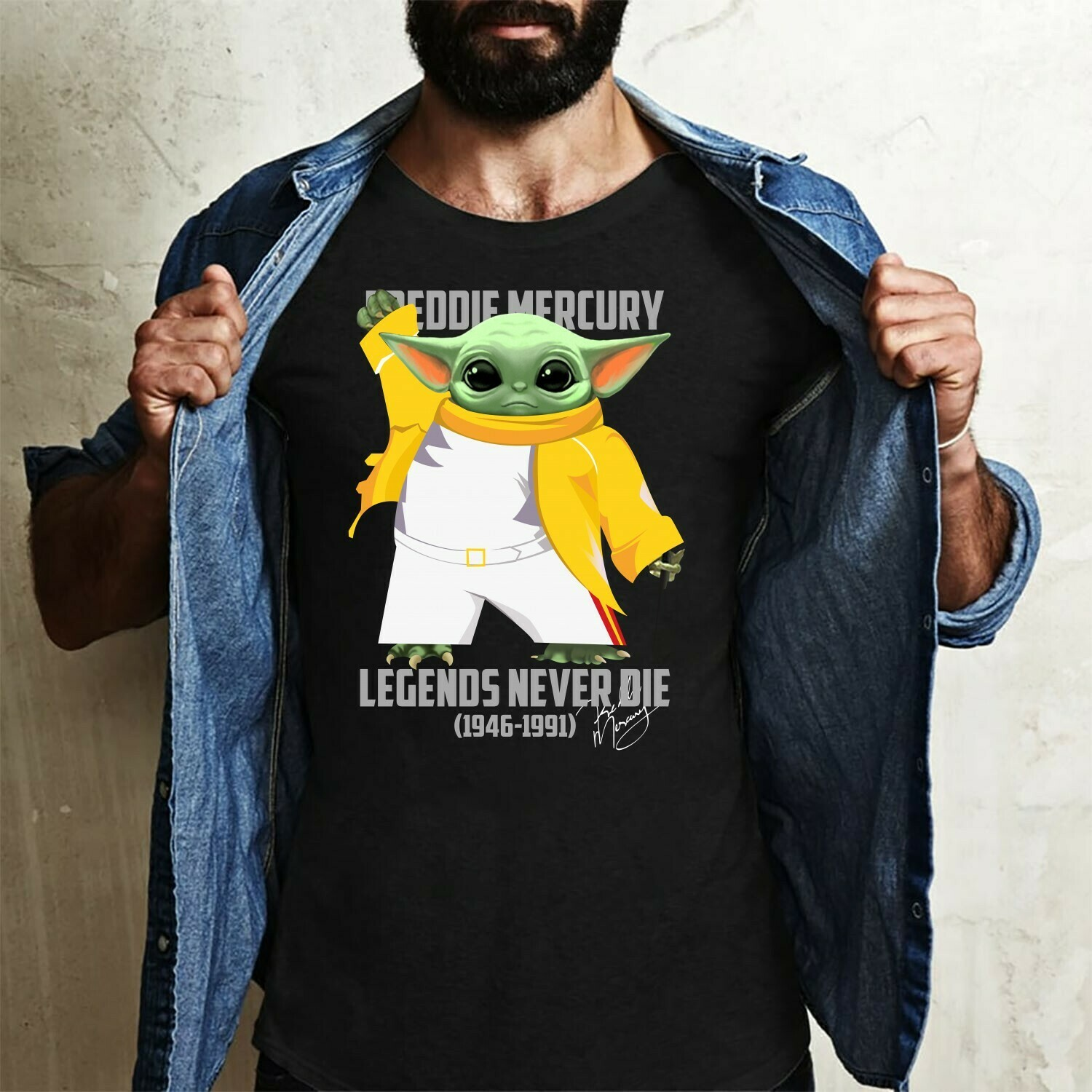 Baby Yoda Freddie Mercury Legends Never Die 1946-1991 signature,The Rock Band Queen gift,AIDS Kills The King of Rock Fan T-Shirt Long Sleeve Sweatshirt Hoodie Jolly Family Gifts