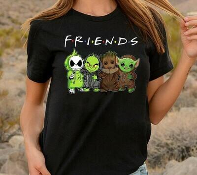 Baby Yoda Groot Grinch and Jack Skellington friends,Deadpool Guardians Of The Galaxy Fan Star War Disney Best friends Festive Force T-Shirt Long Sleeve Sweatshirt Hoodie Jolly Family Gifts