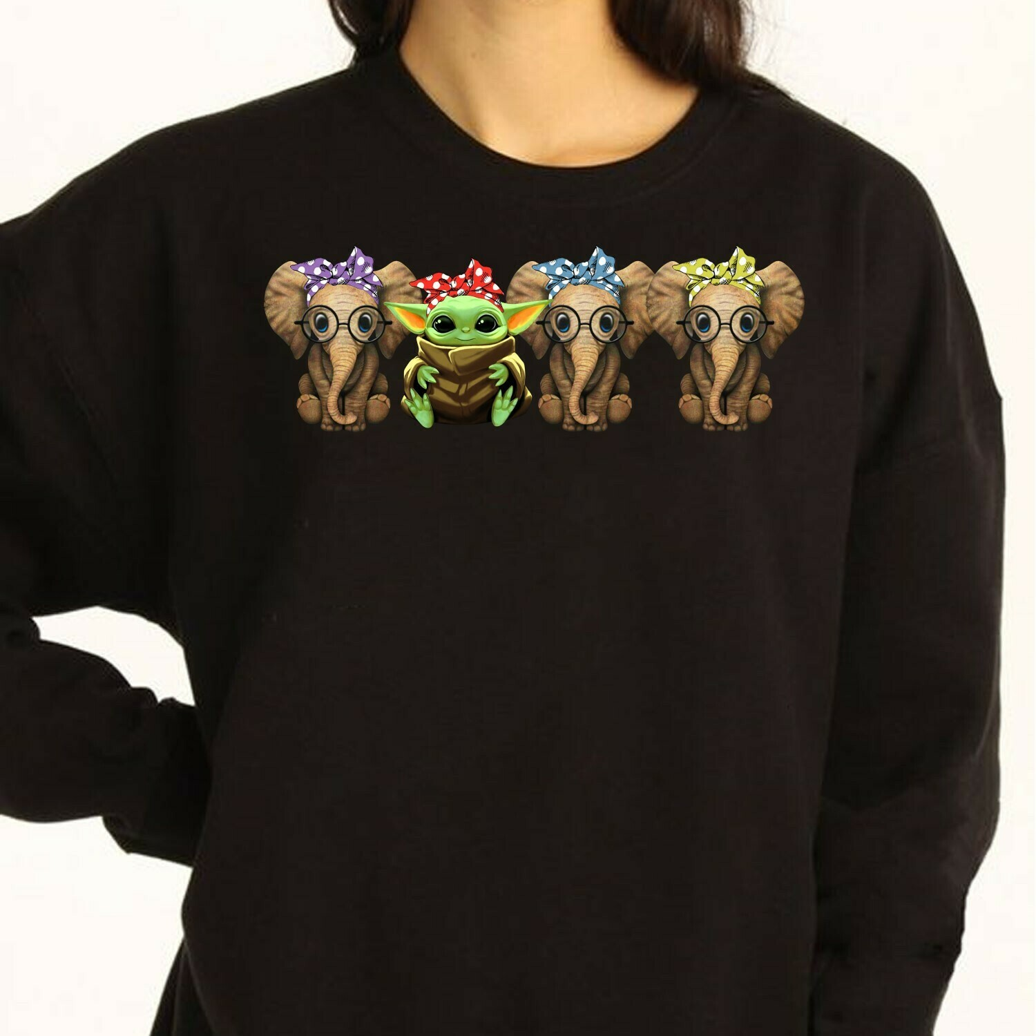 Beauty In Strength Cute Baby Yoda and elephant with bow Gift T-Shirt Long Sleeve Sweatshirt Hoodie Jolly Family Gifts