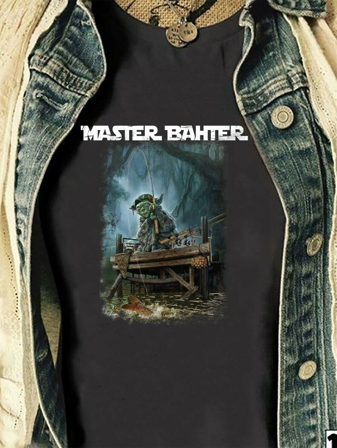 Master Bahter Baby Yoda Go Fishing Disney The Mandalorian With Death Star Wars Movie Vacay Mode Lovely Mickey T-Shirt Long Sleeve Sweatshirt Hoodie Jolly Family Gifts