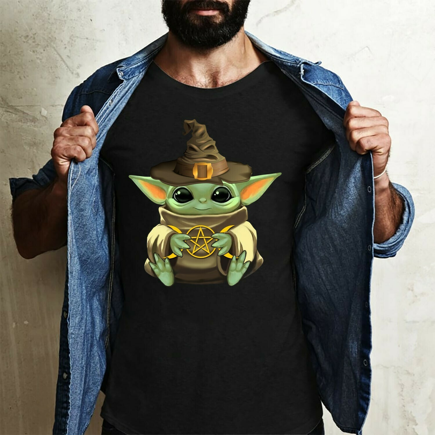 Baby Yoda hug Star,The Child The Mandalorian Star Wars wearing sorting Hat Harry Potter Funny T-Shirt Long Sleeve Sweatshirt Hoodie Jolly Family Gifts