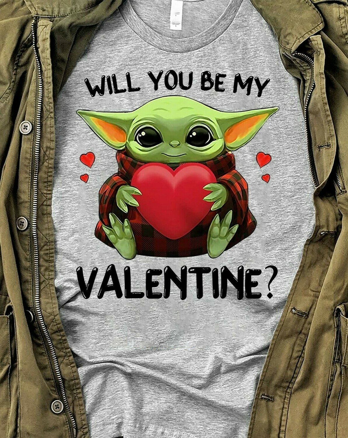 Will You Be My Valentine Baby Yoda One For Me Funny Valentine's day,Star Wars Mandalorian Walt Disney World Valentine Vacation T Shirt Long Sleeve Sweatshirt Hoodie Jolly Family Gifts