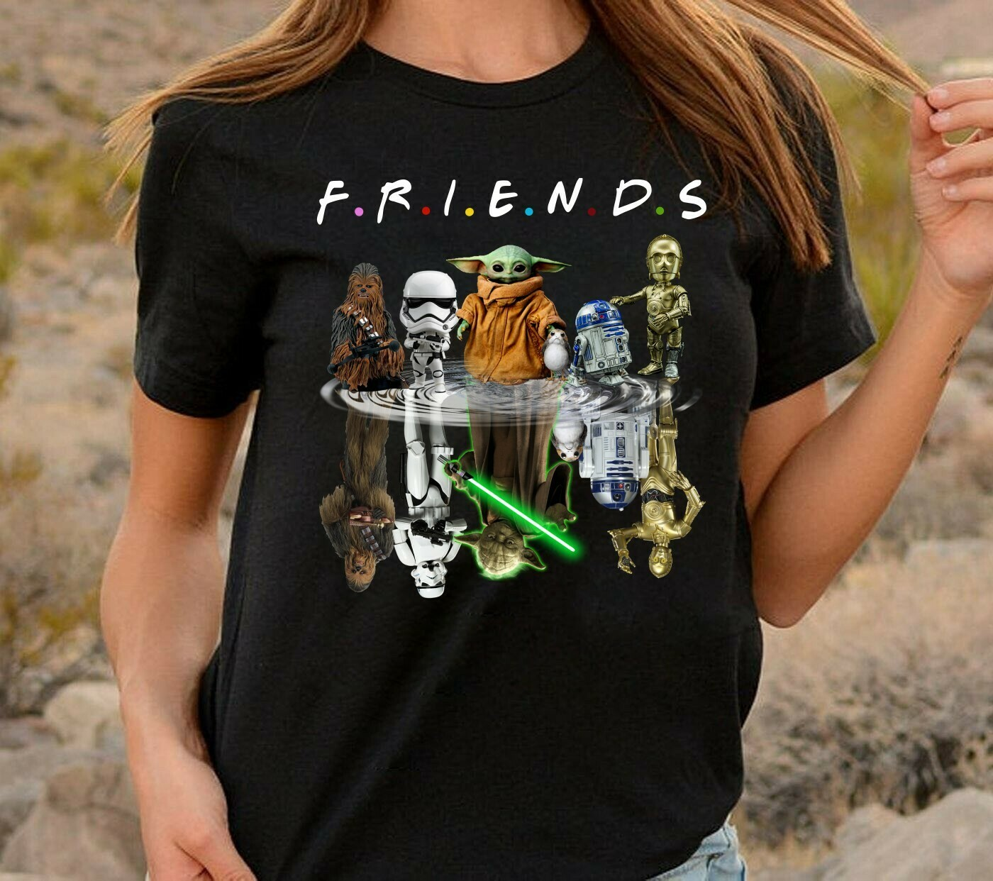 Friends Star Wars Chibi Upside Down Movie Film Family Star Wars Shirts,Jedi Squad Shirts,Family Disney T-shirt,Matching Family Disney Long Sleeve Sweatshirt Hoodie Jolly Family Gifts