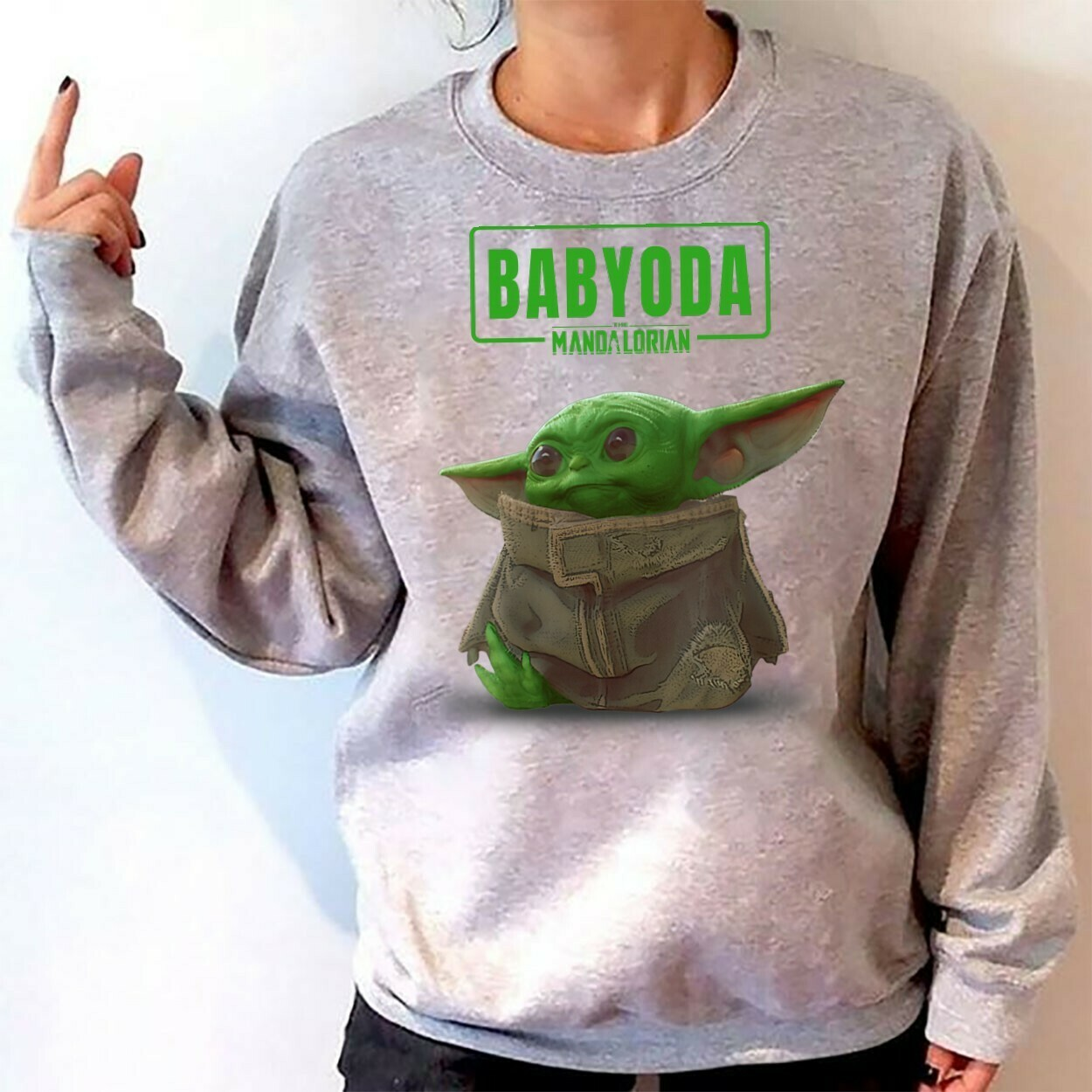 Baby Yoda The Mandalorian The Child Cute Scene,Funny Movie Memes Star Wars,The Rise of Skywalker funny gift T shirt Long Sleeve Sweatshirt Hoodie Jolly Family Gifts