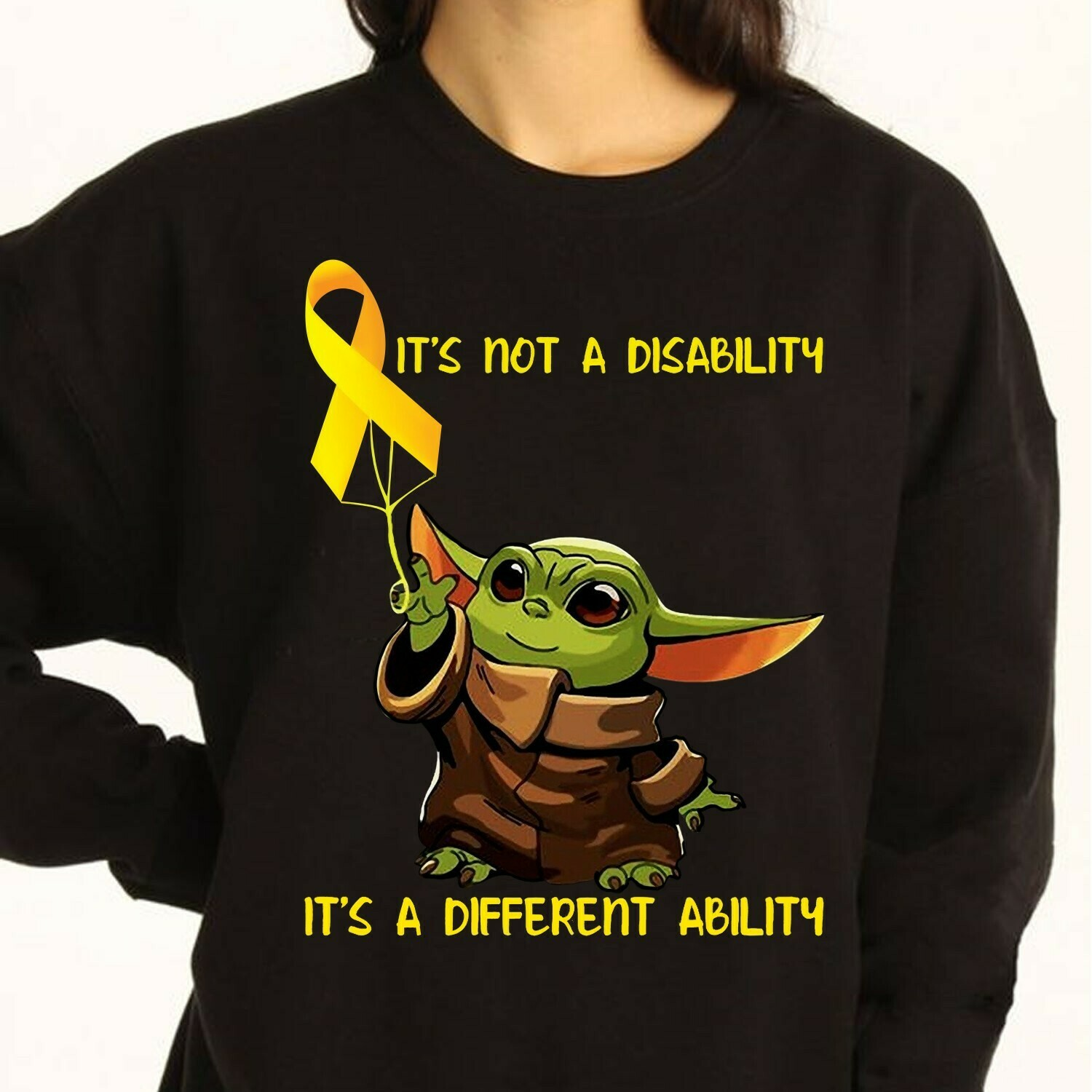 Baby Yoda Autism it's not a disability it's a different ability,Star Wars Mandalorian In A World You Can Be Anything Be Kind T Shirt Long Sleeve Sweatshirt Hoodie Jolly Family Gifts