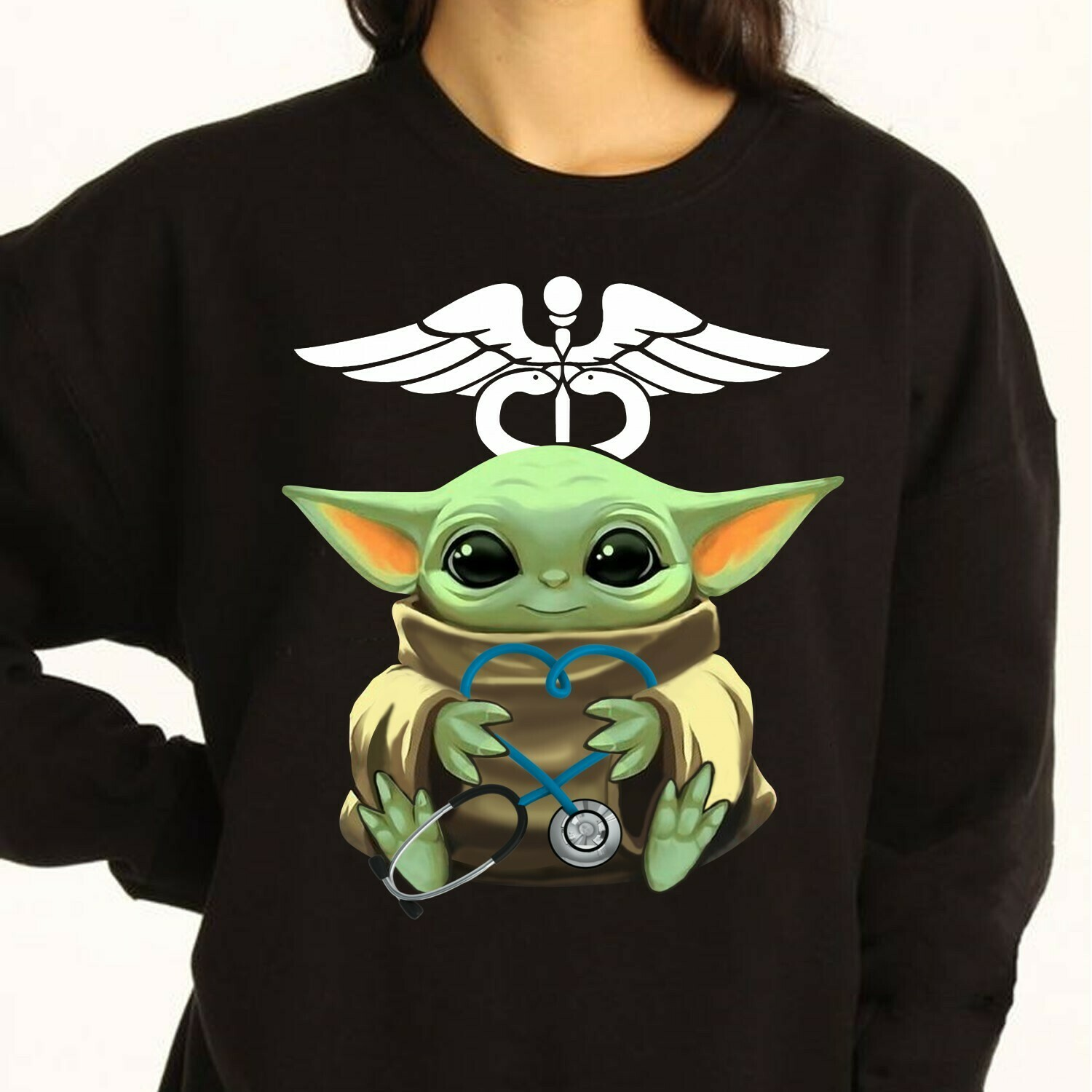 Baby Yoda hug Stethoscope Nurse,Yoda Best Doctor Pun funny Gift,Yoda Best Acute Care Nurse T-Shirt Long Sleeve Sweatshirt Hoodie Jolly Family Gifts