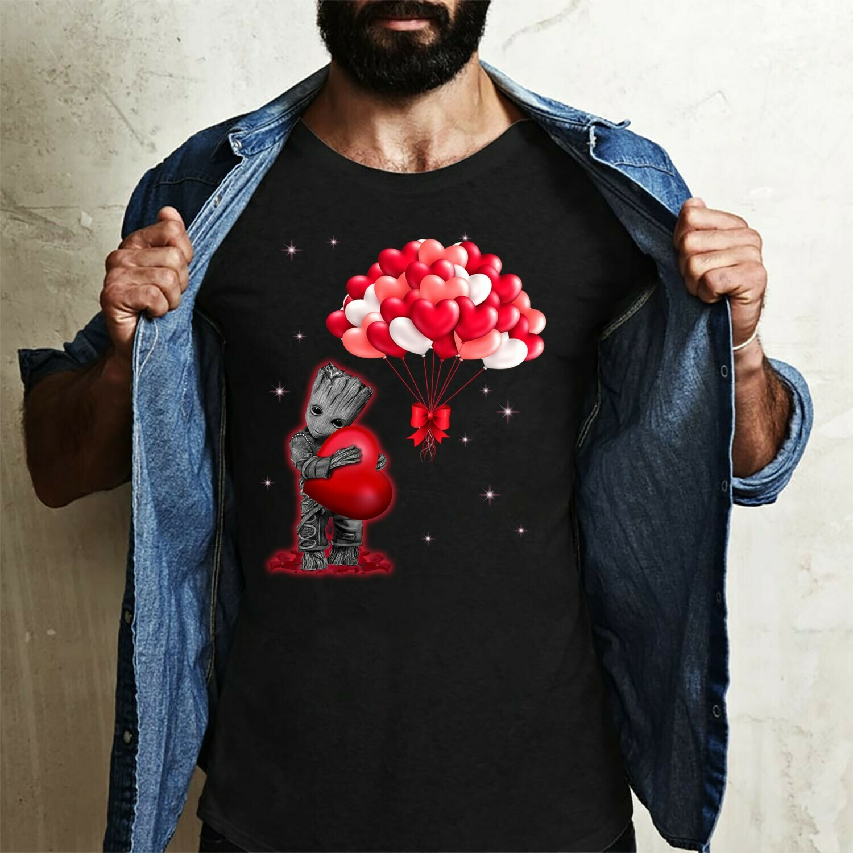 Love Baby Grooot hug Heart Balloon Galaxy Valentine's Day Gift,The Mandalorian Mixed Groot Star Wars Kawaii King T-Shirt Long Sleeve Sweatshirt Hoodie Jolly Family Gifts