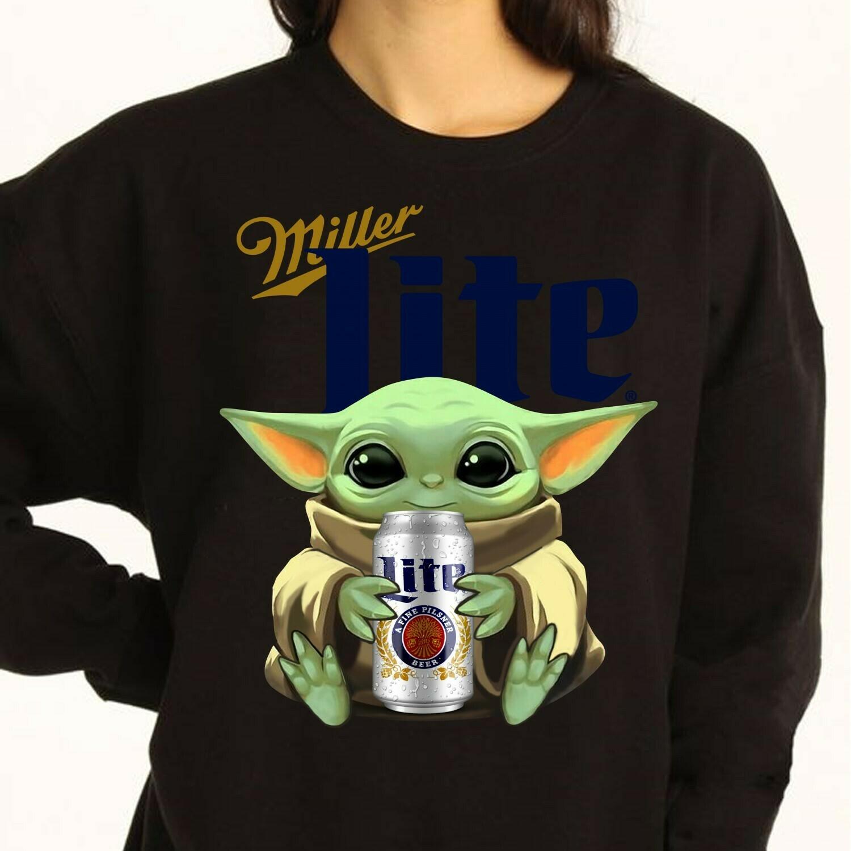 Star Wars Baby Yoda Hug Miller Lite Beer Mandalorian,Beer Succulent T-Shirt Long Sleeve Sweatshirt Hoodie Jolly Family Gifts