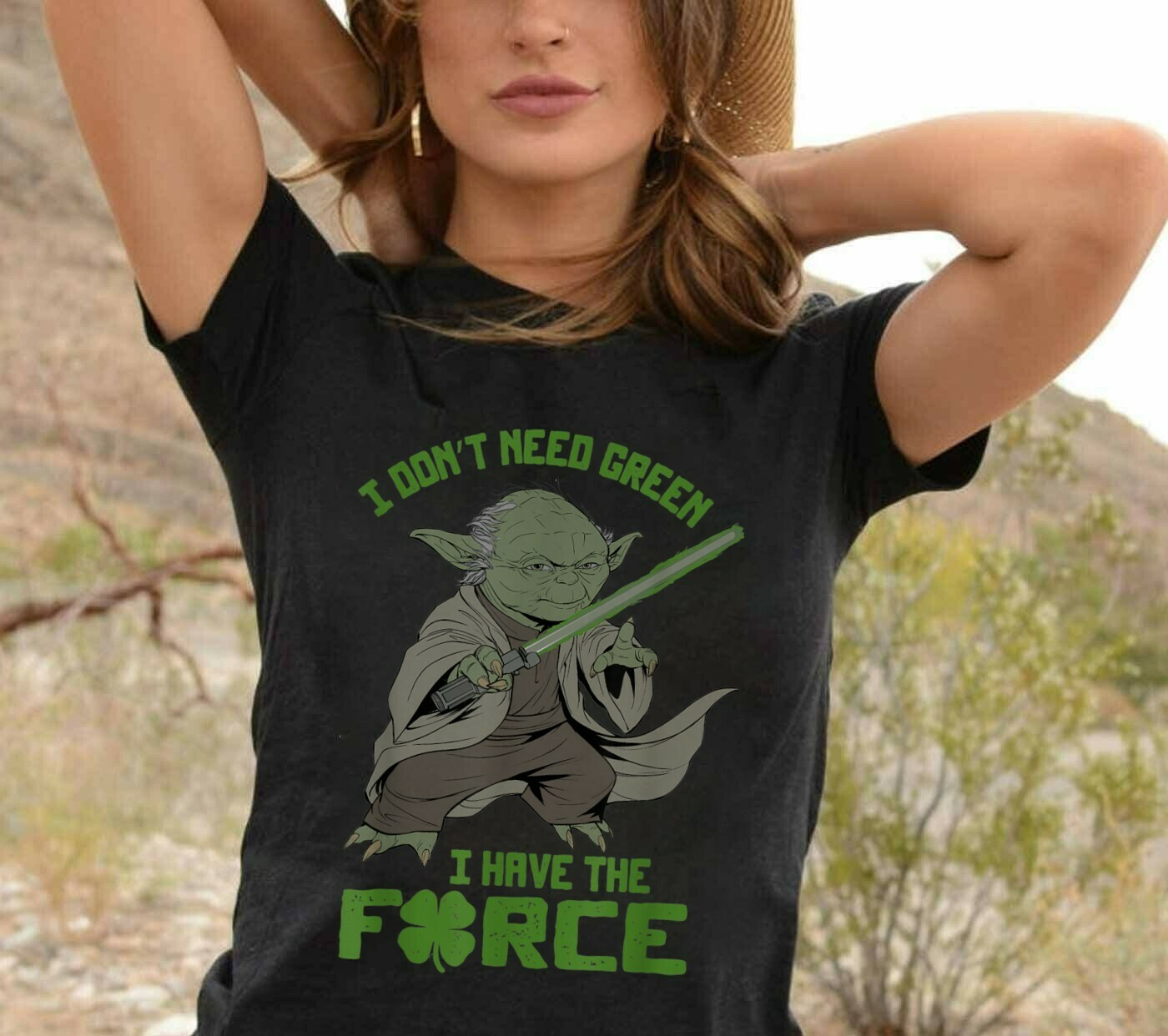 Star Wars Yoda Don't Need Green I have the Force St. Patrick's Day,Star Wars Feeling Lucky Shamrock T-Shirt Unisex T-Shirt Sweatshirt Hoodie Long Sleeve Kids Tee Jolly Family Gifts
