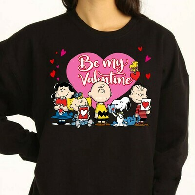 Be my valentine Peanuts Snoopy Lucy Charlie Brown and Woodstock,Snoopy Valentines Heart  T-Shirt Sweatshirt Hoodie Long Sleeve Tee Kids Youth Gifts Jolly Family Gifts