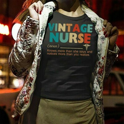 Vintage Nurse Definition Knows More Than She Says And Notices More Than You Realize  T-Shirt Sweatshirt Hoodie Long Sleeve Tee Kids Youth Gifts Jolly Family Gifts