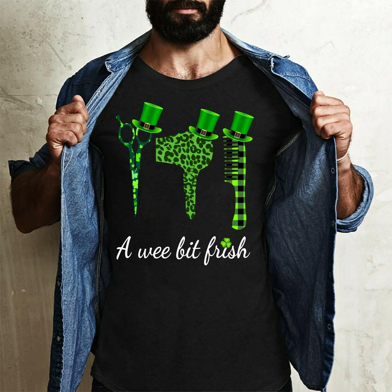 A wee bit Irish Hair Stylist St Patrick's Day,Scissors hairdryer comb Thimble Charm Irish Shamrock Gift  T-Shirt Sweatshirt Hoodie Long Sleeve Tee Kids Youth Gifts Jolly Family Gifts