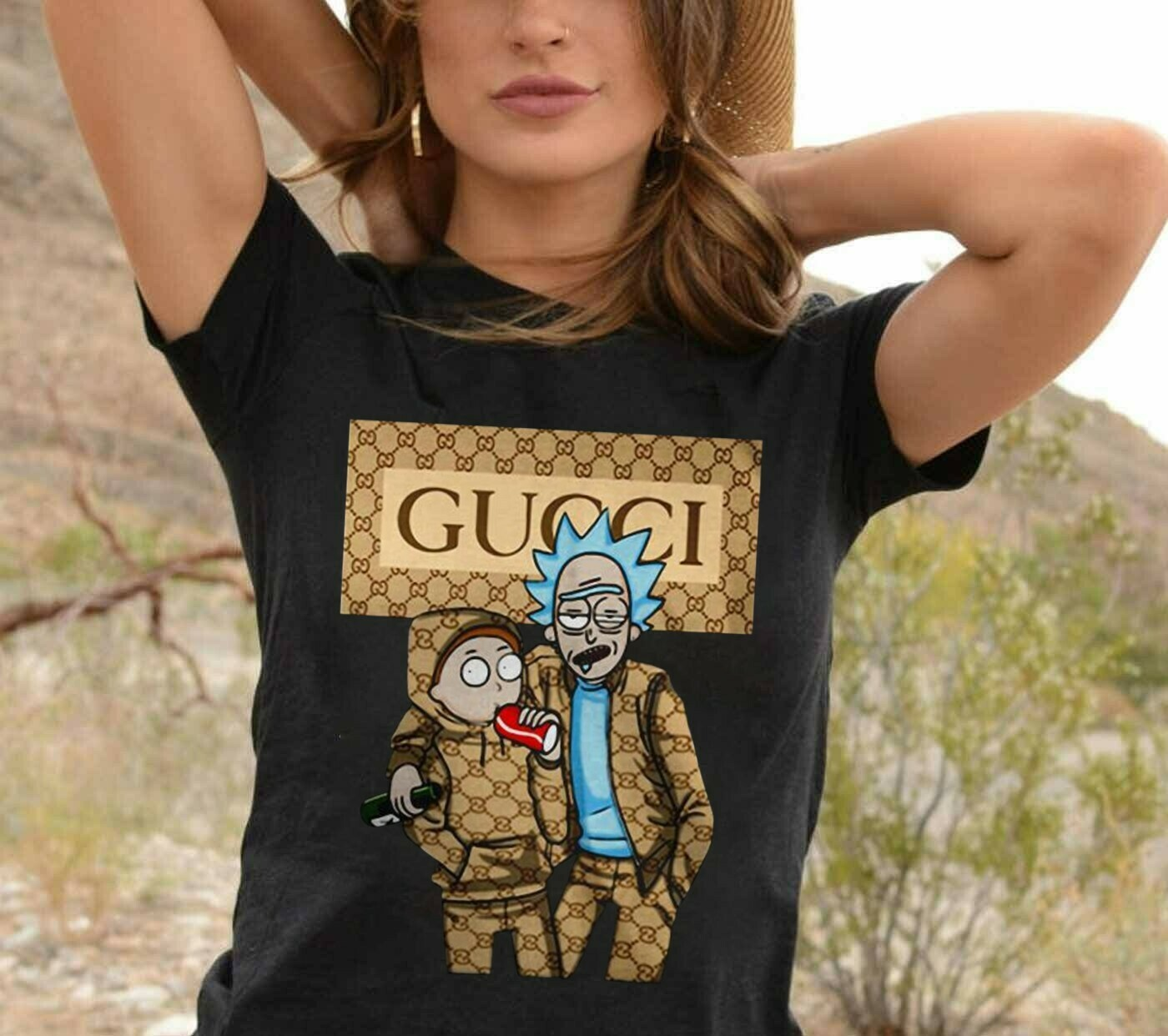 Rick and Morty Gucci Mashup,Friends Rick and Morty On Cartoon Network Drink Wine,Funny Gucci Style Family s T-Shirt Sweatshirt Hoodie Long Sleeve Tee Kids Youth Gifts Jolly Family Gifts