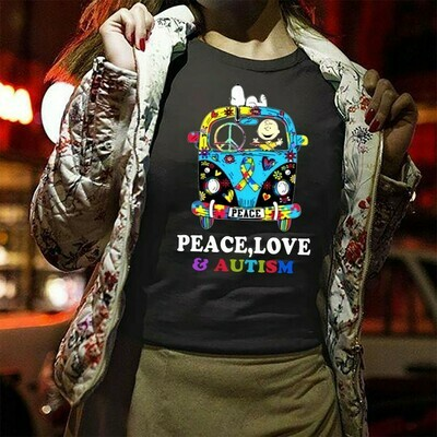 Snoopy And Charlie Brown Peace Love Autism Hippie Bus  T-Shirt Sweatshirt Hoodie Long Sleeve Tee Kids Youth Gifts Jolly Family Gifts