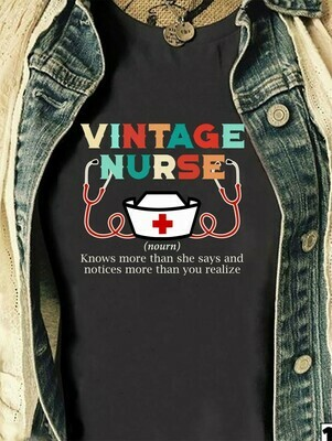 Vintage Nurse noun Knows More Than She Says And Notices More Than You Realize  T-Shirt Sweatshirt Hoodie Long Sleeve Tee Kids Youth Gifts Jolly Family Gifts