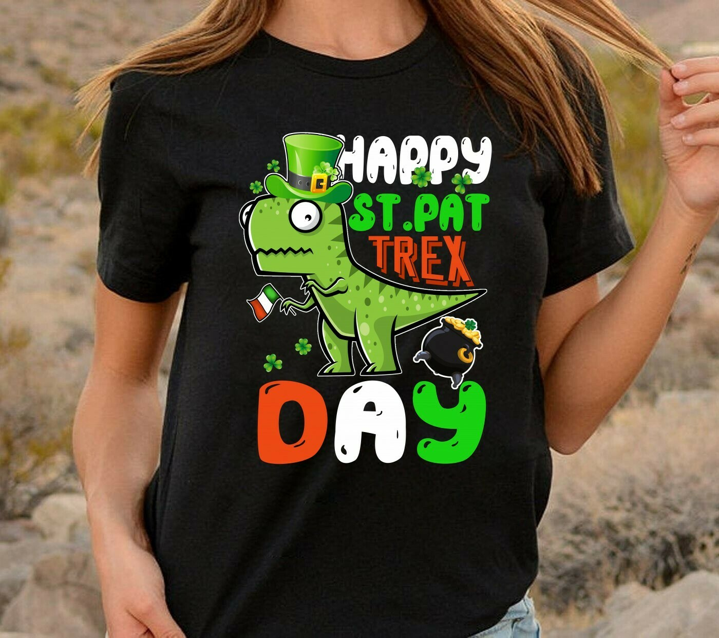 Happy St. Pat T-rex Day Cute St. Patrick's Pun,Irish Dinosaur Luckysaurus Shamrock  T-Shirt Sweatshirt Hoodie Long Sleeve Tee Kids Youth Gifts Jolly Family Gifts