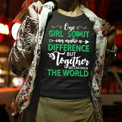 One Girl Guide Can Make A Difference But Together We Can Rock The World  T-Shirt Sweatshirt Hoodie Long Sleeve Tee Kids Youth Gifts Jolly Family Gifts