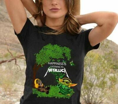Baby Groot and baby Yoda happiness is listening to Metallica St. Patrick's Day,The Mandalorian Star Wars Shamrock Irish Pride Rock  T-Shirt Sweatshirt Hoodie Long Sleeve Tee Kids Youth Gifts Jolly