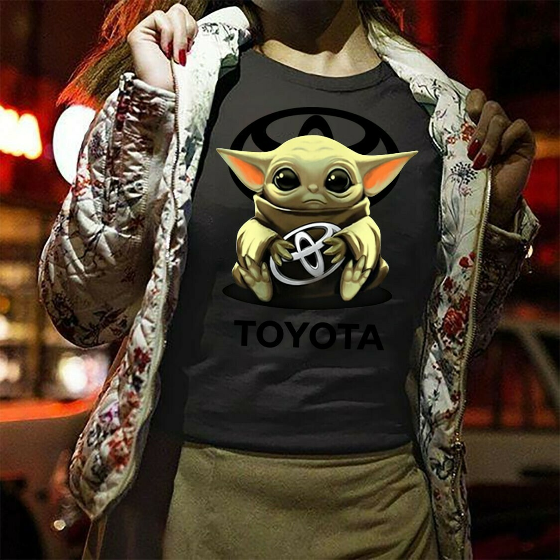 Baby Yoda Hugging Toyota Toyoda,The Mandalorian the Child Movies Adopt This Jedi Funny ,Valentines Gift Idea For Men Women T-Shirt Hoodie Sweatshirt Sweater Tee Kids Youth Gifts Jolly Family Gifts