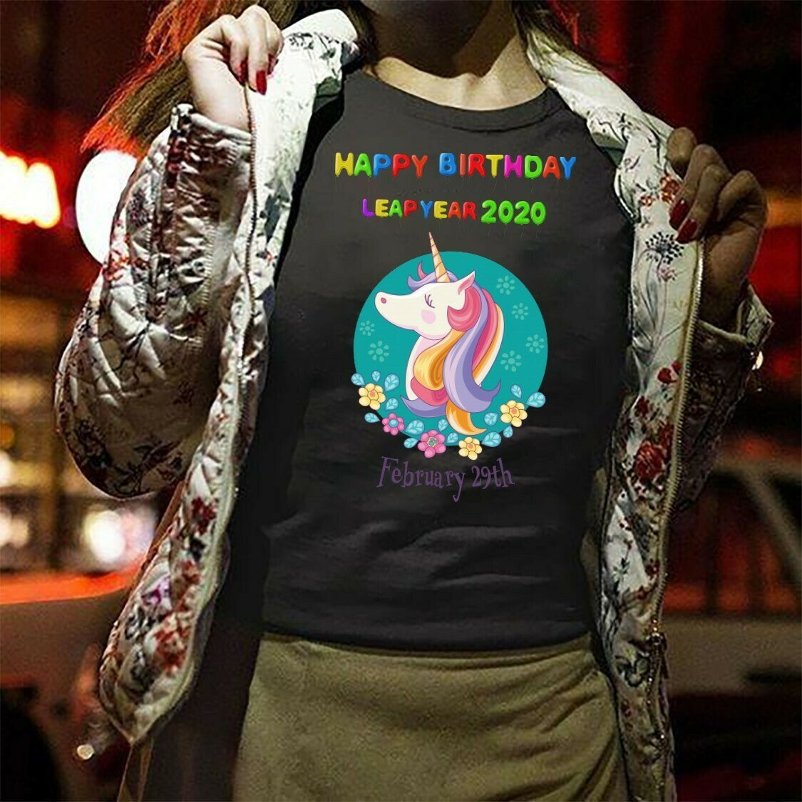 Leap Day Funny Happy Birthday Unicorn February 29th,Unicorn Multicolor fluffy unicorns dancing on rainbows  T-Shirt Hoodie Sweatshirt Sweater Tee Kids Youth Gifts Jolly Family Gifts