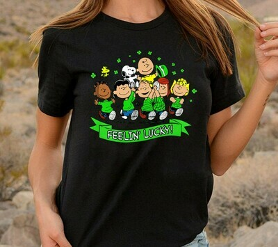 Peanuts St Patrick's Day Feeling Lucky Snoopy Charlie Brown Lucy Sally and Friends,Lucky Charm Shamrock  T-Shirt Hoodie Sweatshirt Sweater Tee Kids Youth Gifts Jolly Family Gifts
