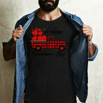 Happy Valentine's Day Heart Graphic Red Plaid Truck,Gift Valentine's Day to Our Trucker Friends  T-Shirt Hoodie Sweatshirt Sweater Tee Kids Youth Gifts Jolly Family Gifts