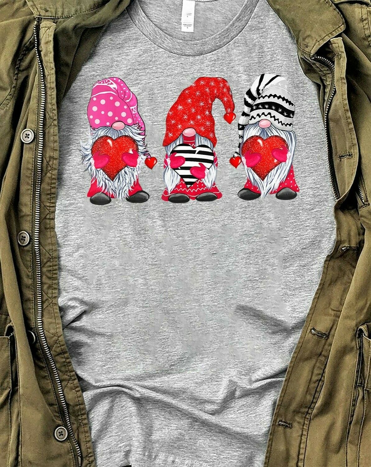 Valentine's Day Heart Gnome,Couple Mr and Mrs Gnome Love Valentine,Lovin' All My Gnomies Heart  T-Shirt Hoodie Sweatshirt Sweater Tee Kids Youth Gifts Jolly Family Gifts