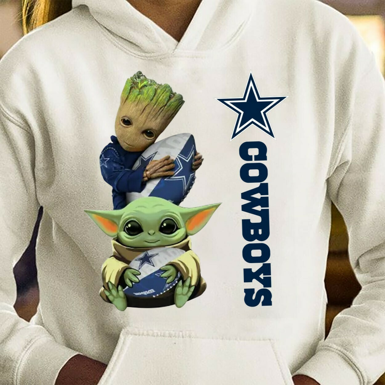 Baby Yoda and Baby Groot hug Dallas Cowboys,Star Wars The Mandalorian The Child First Memories Floating NFL Football Team Fan  T-Shirt Hoodie Sweatshirt Sweater Tee Kids Youth Gifts Jolly Family Gifts