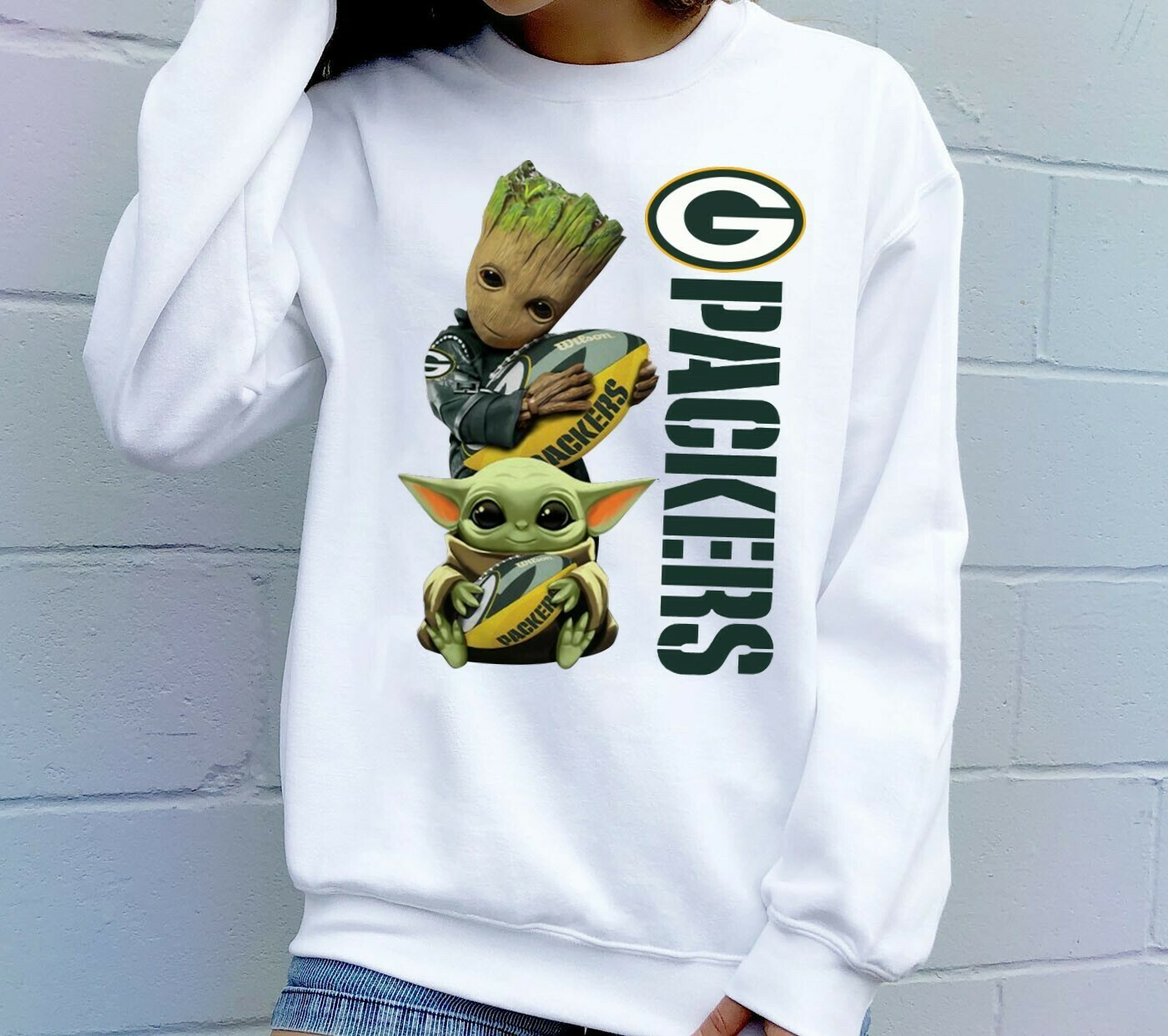 Baby Yoda and Baby Groot hug Green Bay Packers,Star Wars The Mandalorian The Child First Memories Floating NFL Football Team Fan  T-Shirt Hoodie Sweatshirt Sweater Tee Kids Youth Gifts Jolly Family
