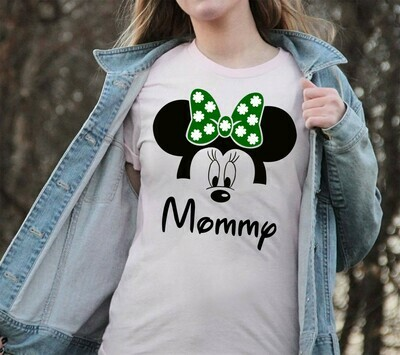 St Patrick's Day Mommy Minnie Inspired,Green Leprechaun Shamrock Lucky charm of the Irish Disneyland  T-Shirt Hoodie Sweatshirt Sweater Tee Kids Youth Gifts Jolly Family Gifts