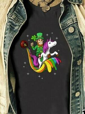 Leprechaun Riding Unicorn St Patricks Day Irish,Shamrock Unicorn Leprechaun spirit animal  T-Shirt Hoodie Sweatshirt Sweater Tee Kids Youth Gifts Jolly Family Gifts