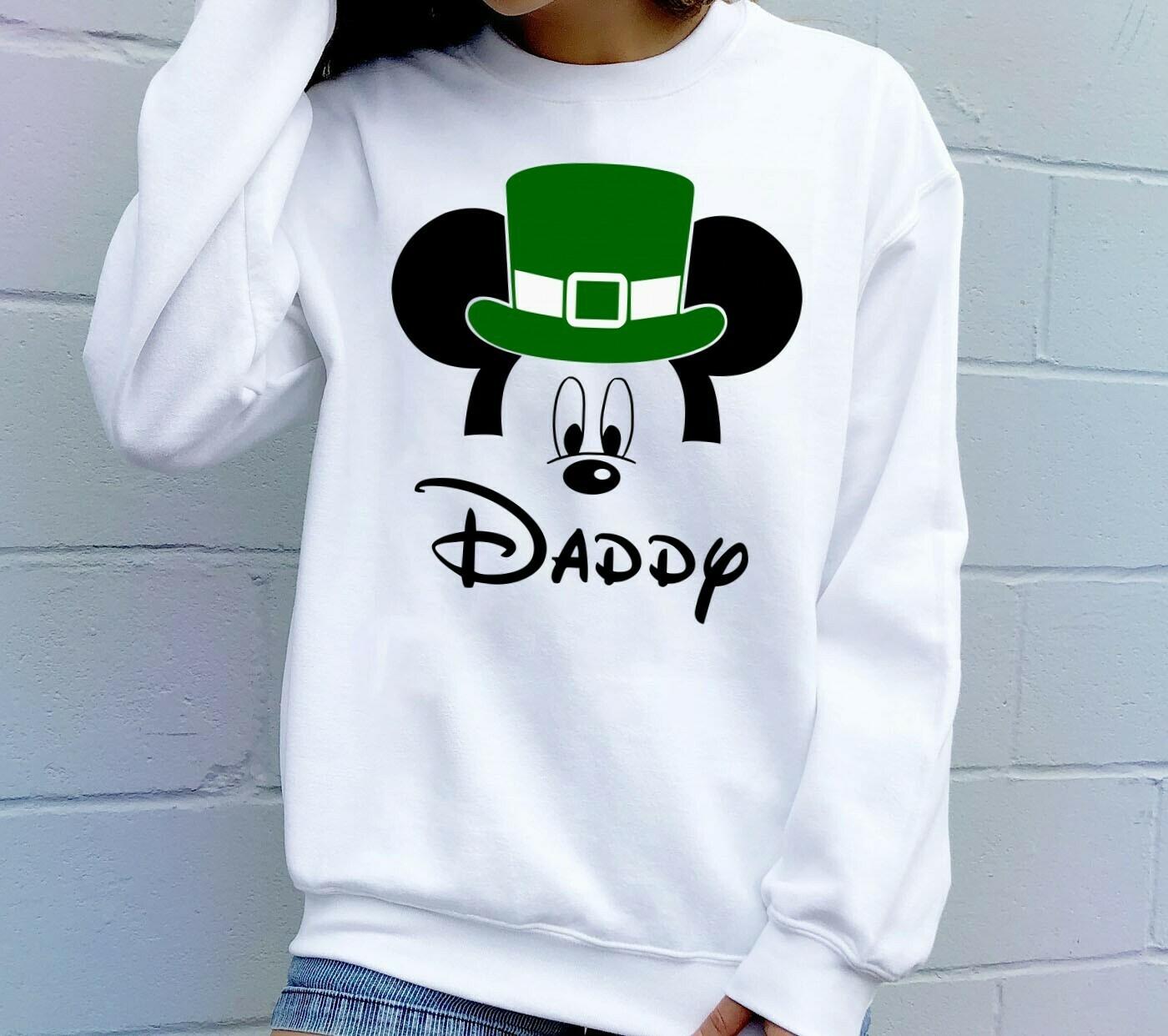 St Patrick's Day Daddy Mickey Disney Inspired,Green Leprechaun Shamrock Lucky charm of the Irish Disneyland  T-Shirt Hoodie Sweatshirt Sweater Tee Kids Youth Gifts Jolly Family Gifts
