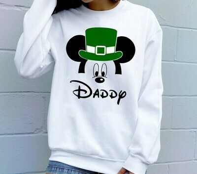 St Patrick's Day Daddy Mickey Disney Inspired,Green Leprechaun Shamrock Lucky charm of the Irish Disneyland  T-Shirt Hoodie Sweatshirt Sweater Tee Kids Youth Gifts Jolly Family Gifts