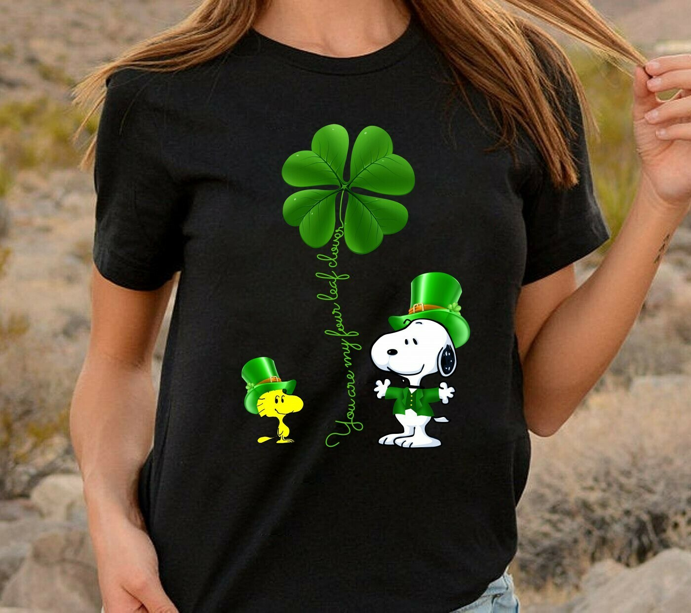 Snoopy and Woodstock you are my four leaf Clover with Green Hats,Shamrock Feelin' Lucky to have St. Patrick's Day Peanuts  T-Shirt Hoodie Sweatshirt Sweater Tee Kids Youth Gifts Jolly Family Gifts