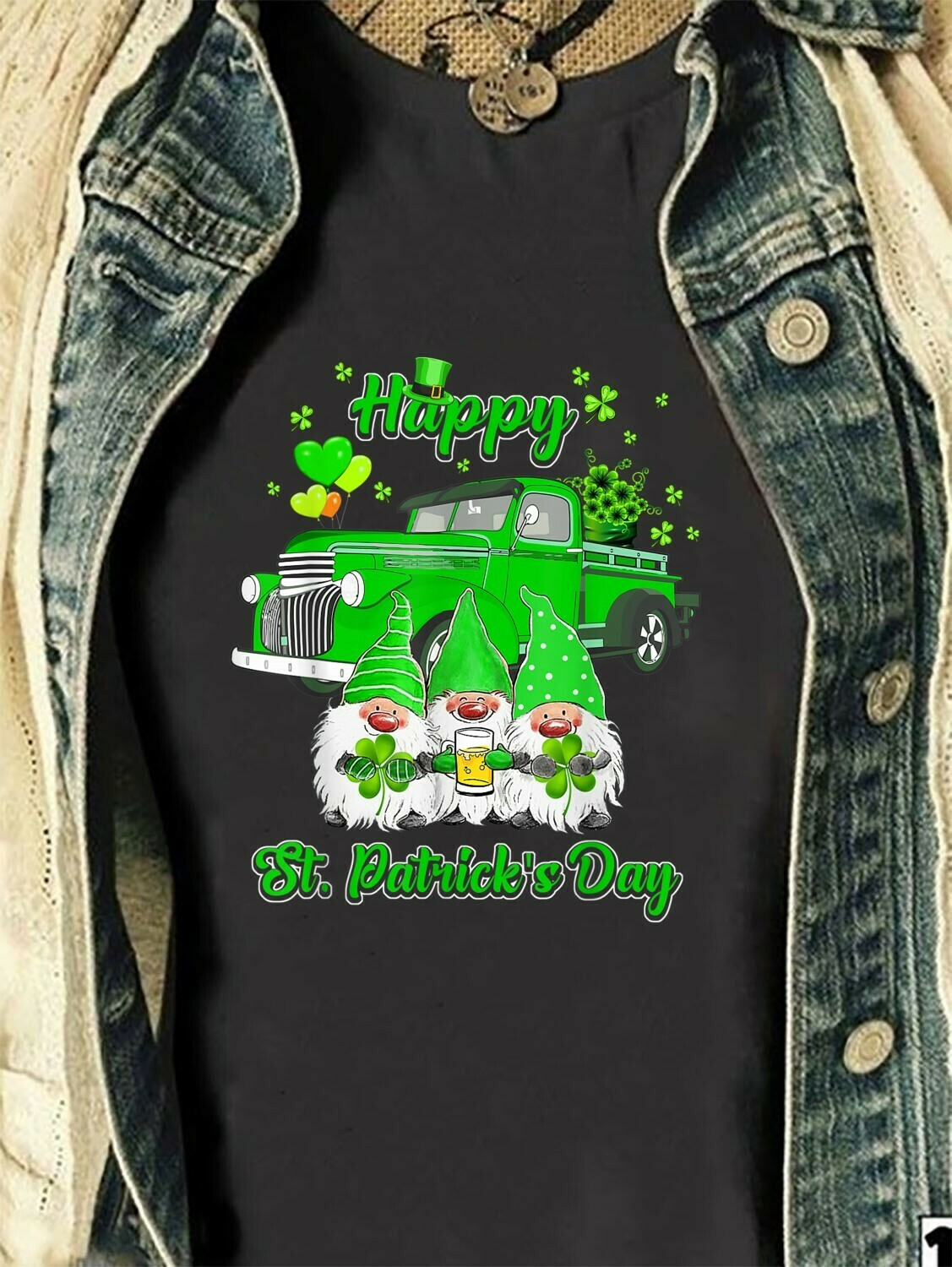 Three Gnomes Holding Clover Shamrocks Happy St Patrick's Day,Truck Full Of Lucky Charm Gnomes Leprechaun Funny  T-Shirt Hoodie Sweatshirt Sweater Tee Kids Youth Gifts Jolly Family Gifts