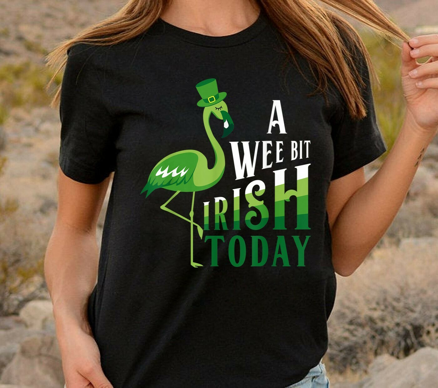 A wee bit irish today Green Flamingo Green Flamingo Funny St. Patrick's Day,Green Shamrocks for Large flamingos  T-Shirt Hoodie Sweatshirt Sweater Tee Kids Youth Gifts Jolly Family Gifts
