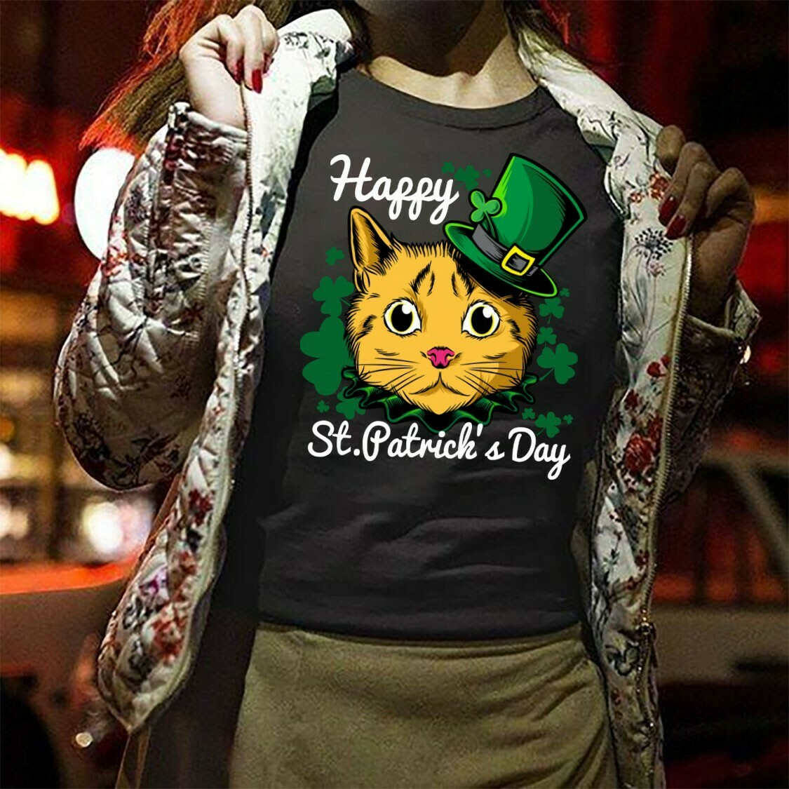 My Cat Is My Lucky Charm Happy Patrick's Day,Cats Caticorn Leprechaun Funny St Paddy's Day  T-Shirt Hoodie Sweatshirt Sweater Tee Kids Youth Gifts Jolly Family Gifts