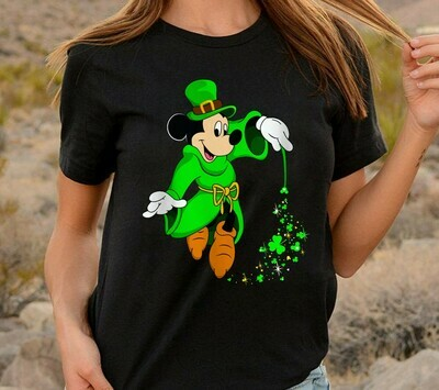 Green Leprechaun Mickey Mouse Shamrock St. Patrick's Day Luck of the Irish Disneyland  T-Shirt Hoodie Sweatshirt Sweater Tee Kids Youth Gifts Jolly Family Gifts