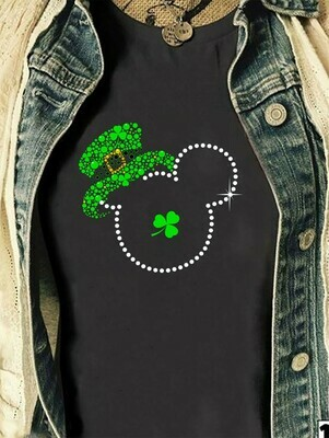 Green Leprechaun Mickey Mouse Head Shamrock St. Patrick's Day Luck of the Irish Disneyland  T-Shirt Hoodie Sweatshirt Sweater Tee Kids Youth Gifts Jolly Family Gifts