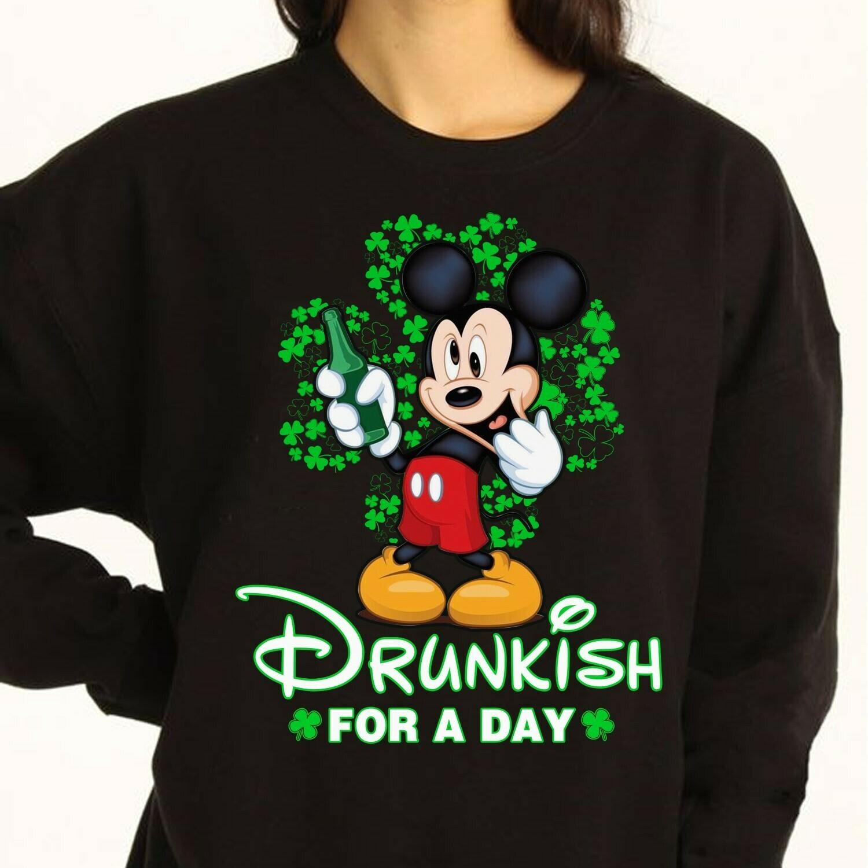 Saint Patrick's Day Shamrock Disney Mickey Mouse Head Irish  T-Shirt Hoodie Sweatshirt Sweater Tee Kids Youth Gifts Jolly Family Gifts
