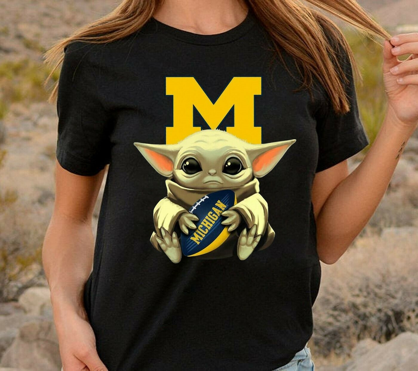 Baby Yoda Hug Michigan Wolverines,Star Wars The Mandalorian The Child First Memories Floating NFL Football Team Fan  T-Shirt Hoodie Sweatshirt Sweater Tee Kids Youth Gifts Jolly Family Gifts