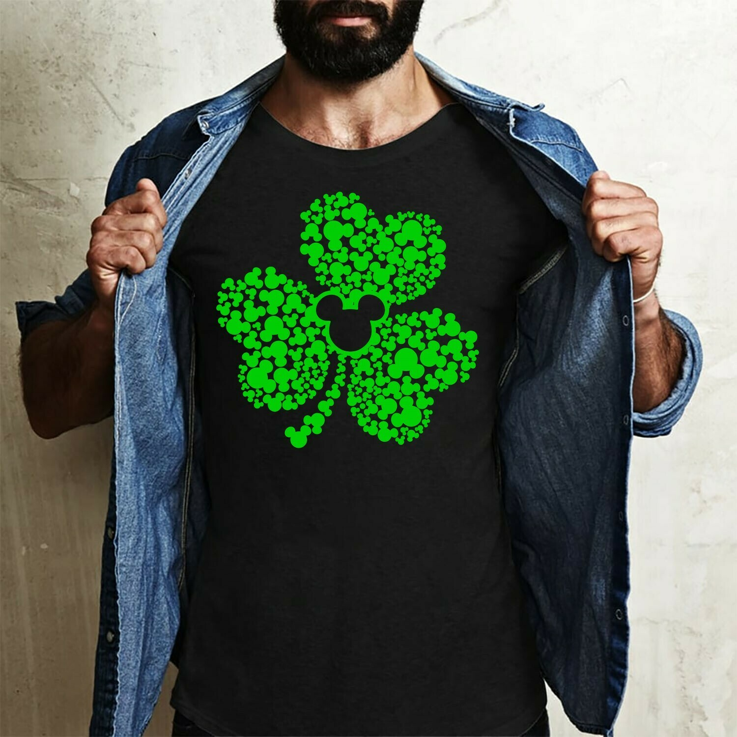 Saint Patrick's Day Shamrock Disney Mickey Mouse Head Irish,You Are My Four Leaf Clover  T-Shirt Hoodie Sweatshirt Sweater Tee Kids Youth Gifts Jolly Family Gifts