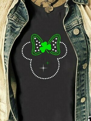 Green Leprechaun Minnie Mouse Head Shamrock St. Patrick's Day Luck of the Irish Disneyland  T-Shirt Hoodie Sweatshirt Sweater Tee Kids Youth Gifts Jolly Family Gifts