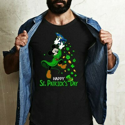 Green Leprechaun Mickey Mouse Shamrock Happy St. Patrick's Day Luck of the Irish Disneyland  T-Shirt Hoodie Sweatshirt Sweater Tee Kids Youth Gifts Jolly Family Gifts