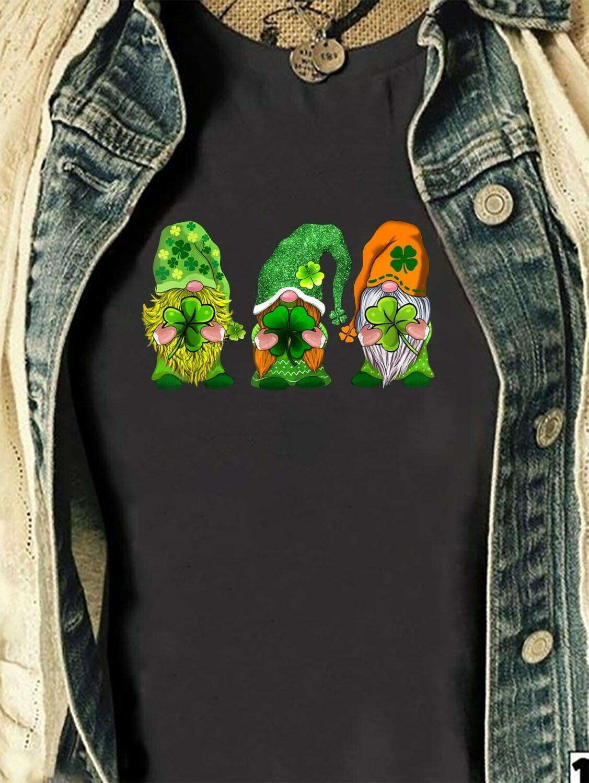 Irish Gnomes Happy st patrick's day,Three Gnomes Holding Clover Shamrocks,Green Leprechan gnome  T-Shirt Hoodie Sweatshirt Sweater Tee Kids Youth Gifts Jolly Family Gifts