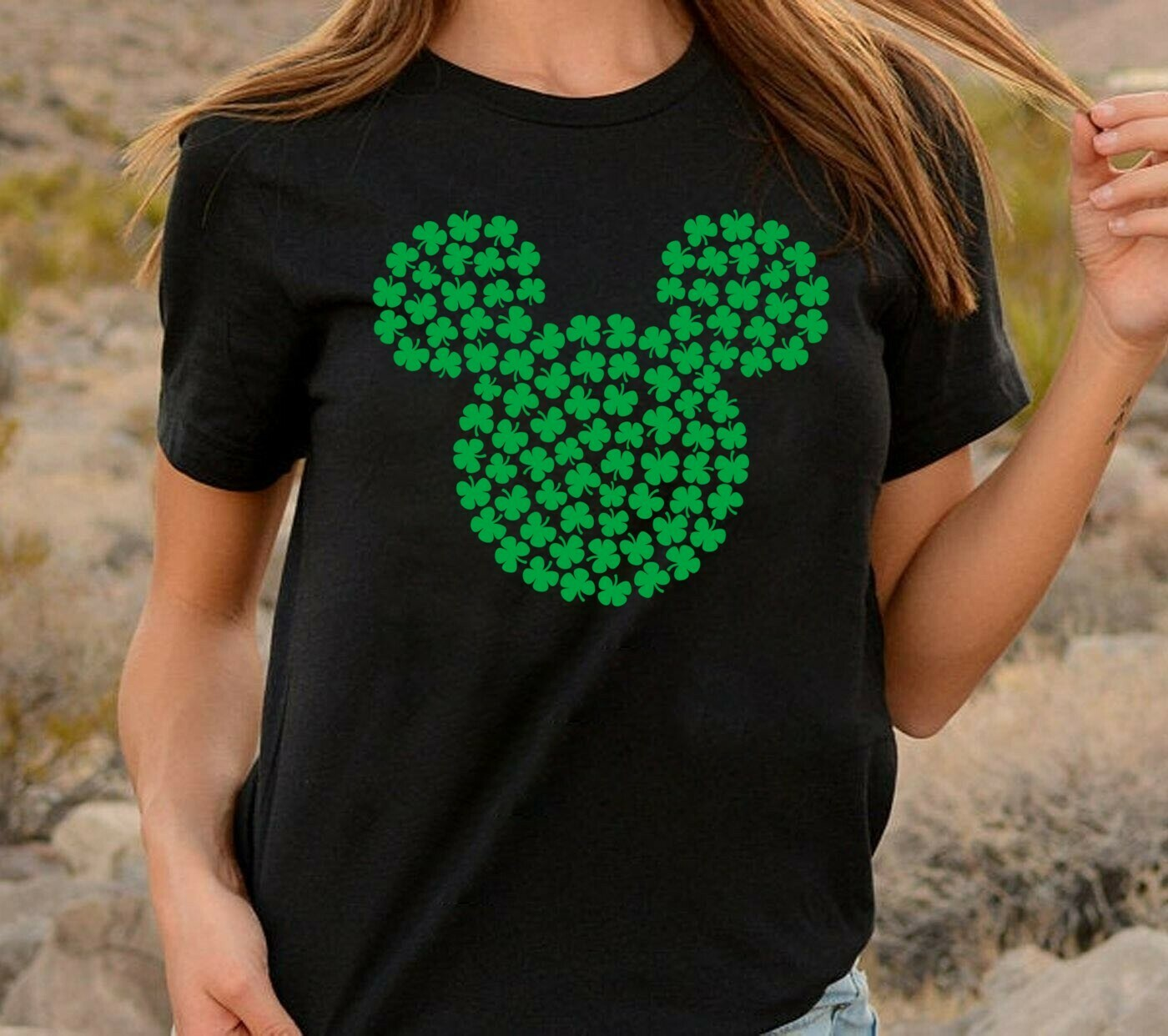 Saint Patrick's Day Shamrock Disney Mickey Mouse Head Irish  T-Shirt Hoodie Sweatshirt Sweater Tee Kids Youth Gifts Jolly Family Gifts